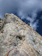Rock Climbing Photo: Jim LaRue leading the arete variation to pitch 6.