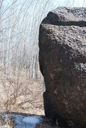 Rock Climbing Photo: Backside of boulder that has a few cracks and good...