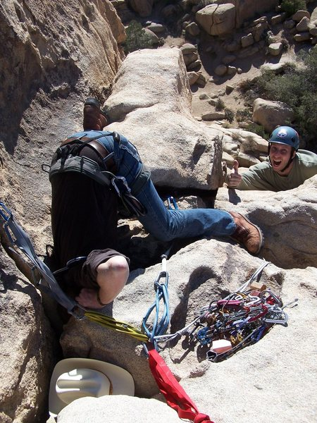Rock Climbing Photo: Kennedy gives the high sign while Dan fishes for a...