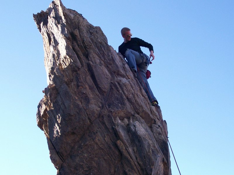 This route on the Pinnacle at New Jack City sheds breadbox-sized chunks of rock.