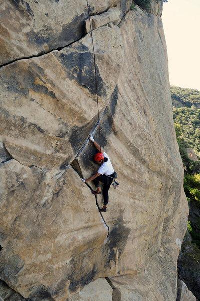 Phil climbs the Santa Barbara classic T-Crack, at Gibraltar Rock.