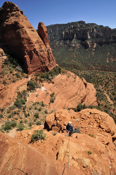 Rock Climbing Photo: Dana Ikeda belaying from pitch 3