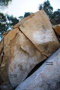 Rock Climbing Photo: Dynamite Boulder Right Topo