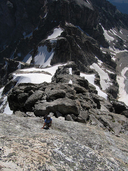 The crux slabs below the summit.