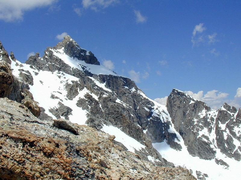 Mt Owen with the obvious Koven Couloir.<br> East ridge in profile (right.)<br> Late June conditions.