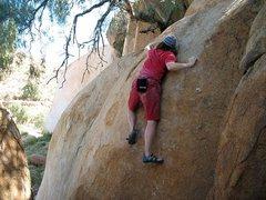 Rock Climbing Photo: The Peppertree Problem (V2), Mt. Rubidoux