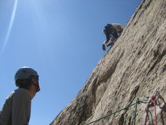 Rock Climbing Photo: Paul on the 5.10 section of the 180' pitch 2. Phot...