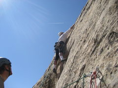 Rock Climbing Photo: Paul starting the 5.10 section of the 180' second ...