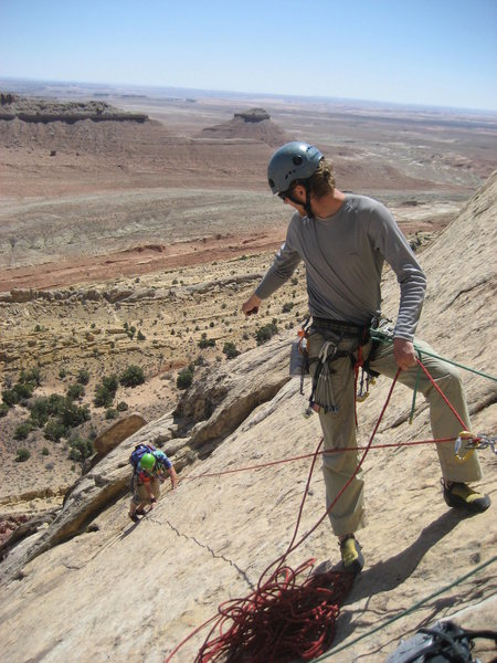 Steave belaying Pat at the top of the  second pitch