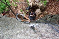 Rock Climbing Photo: KJ working her way up.
