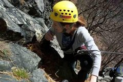Rock Climbing Photo: Amber approaching the 'Triumverate' belay ledge
