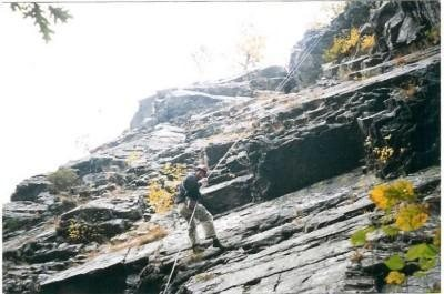 Joey rappelling 'Dead Climber's Society'