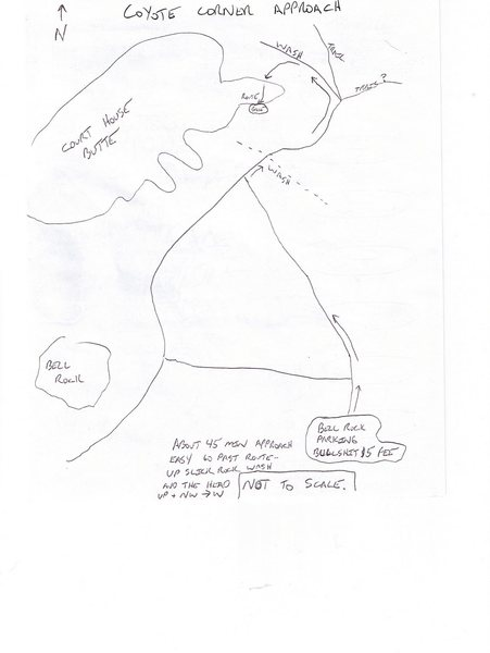 Rock Climbing Photo: A quick sketch of one of the ways to approach Coyo...