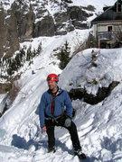 Rock Climbing Photo: Pat on top of Bridalveil Falls.