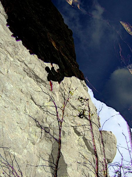 This is a picture of me on Love Slave overlayed on a picture of the Orange Crush arete.