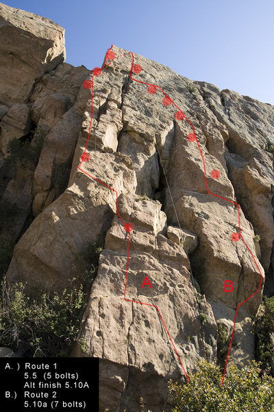 Route 1 is shown on the left climbing the arete. The first bolt is a bit high off the ground and the third bolt feels a bit runout, but the climbing is easy.