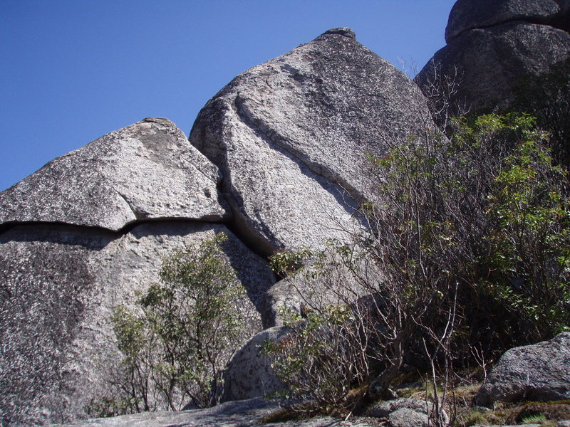 "View of Middle Sunset Wall - Old Rag Mountain.  Prominent left-leaning line is ""Mosaic"" 5.10b."