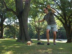Slacklining in Rock Creek Park, Washington DC.
