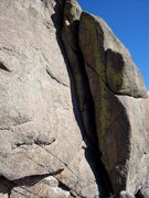 Rock Climbing Photo: 5.8 Dihedral on the NW face.  Gear fingers to hand...