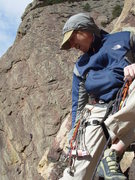 Rock Climbing Photo: Nick at the top of the first pitch, under the over...