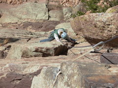 Rock Climbing Photo: Cora following the first pitch. Photo by Bill Rusk...