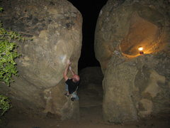 Rock Climbing Photo: Working on my nemesis during an evening session.  ...
