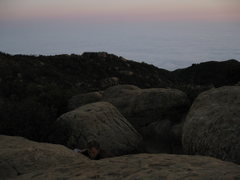 Rock Climbing Photo: Cloudy below in Santa Barbara, but a beautiful eve...