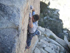 Rock Climbing Photo: Some pulling still required near the top. Photo by...
