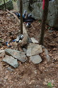 Rock Climbing Photo: New steps going to the Yeller boulder.