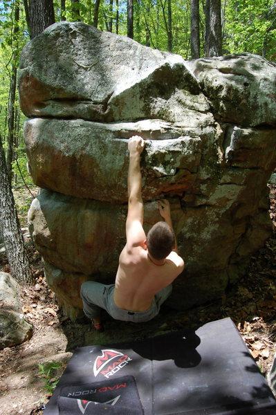 Rock Climbing Photo: Bradley working towards the rail.