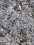 Rock Climbing Photo: Tydirium is the left of the two lines. Good dark l...