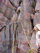 Rock Climbing Photo: SteveZ contemplating the wet start of Catenary Cra...