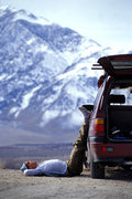 Rock Climbing Photo: Matt Grieger relaxes in a pullout overlooking Hwy-...