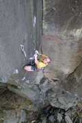 Rock Climbing Photo: Digging in crimpers on Perlender Abgang