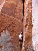 Rock Climbing Photo: Joe on Saddle Sores:  the nice hand crack on the l...