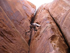 Rock Climbing Photo: Joe using the huecos, and champing up his first .1...