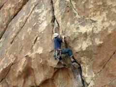 Rock Climbing Photo: Through the pumpy crux.