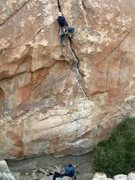 Rock Climbing Photo: The climbing gets easier, but the pump has started...