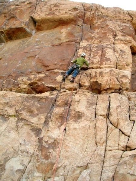 Some nice climbing on the twin cracks of 'No Calculators Allowed.'