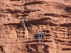 Rock Climbing Photo: Trying to sling a horn on the crux pitch so I don'...
