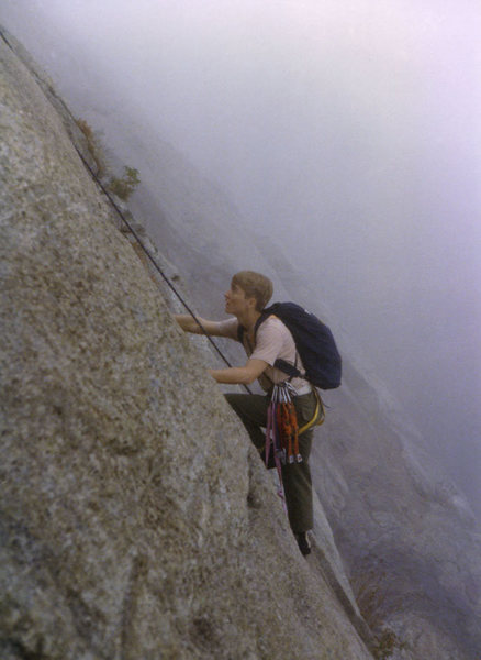 Tim Eubank climbing at Mt Yona, late 1970's. Photo John McMullen