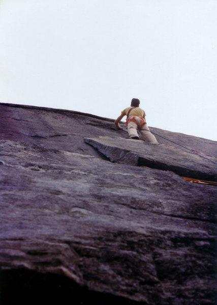 John McMullen climbing at Mt Yona, late 1970's. Photo Tim Eubank.