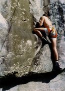 John McMullen top-roping boulder problem. Mt Yona, late 1970's. Photo Tim Eubank