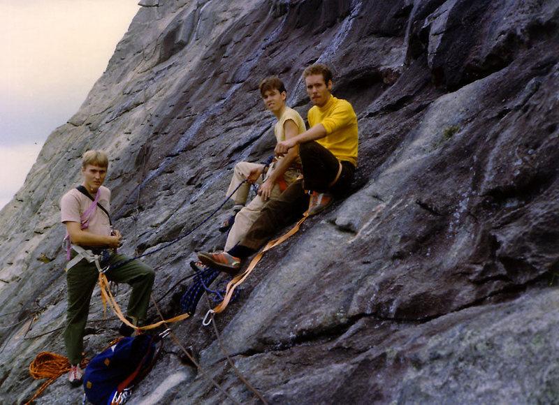 "Tim Eubank, John McMullen, ""Action"" Jackson, at a belay ledge on Mt Yona, late 1970's."