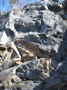 Rock Climbing Photo: Rack for Sale starts up the orange flake to the le...