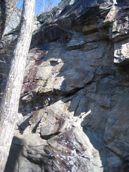 Rock Climbing Photo: The left half of the photo shows Trigger Happy, fo...