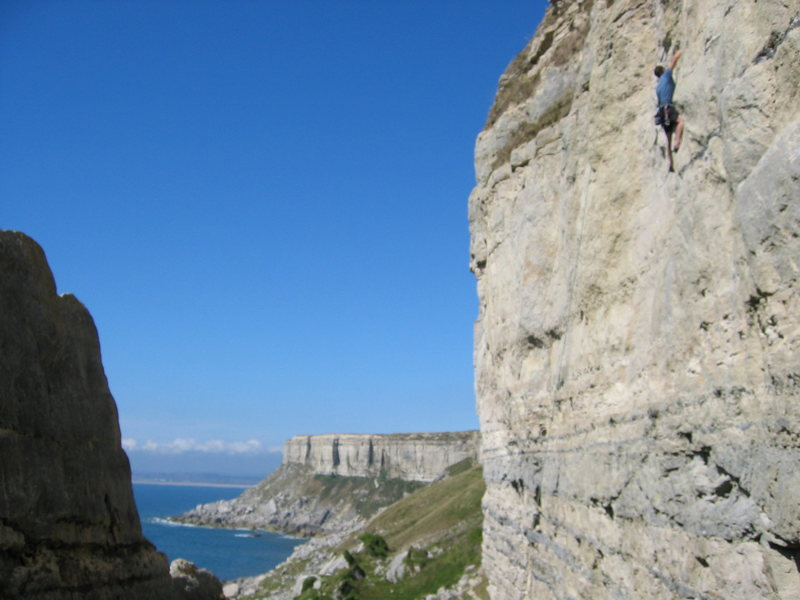 Great climbing on the limestone cliffs of Portland, south coast of England, UK.