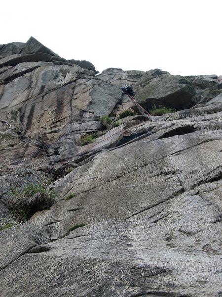 Climbing on the granite cliifs of Cornwall, UK