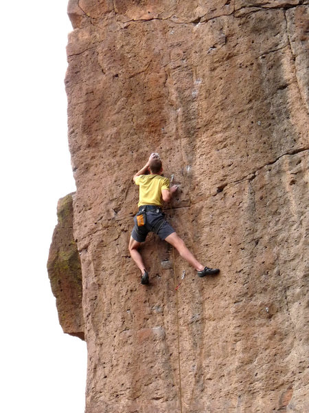 Rock Climbing Photo: Moving into the crux of the route.