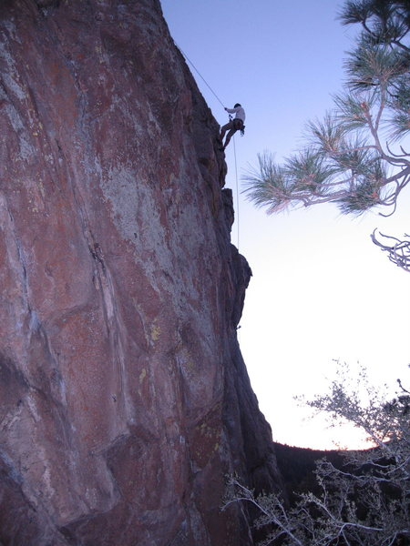 Rappelling off One Armed Bandit just before dark